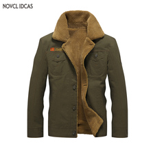 Novel ideas 2017 New winter Bomber Jackets Men Army Outerwear tactical jackets mens cotton thick fur collar warm coats