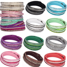 LNRRABC Women Fashion European Charm Rhinestone Crystal  Leather Bracelets & Bangles for Women Friendship bracelet Jewelry Gift