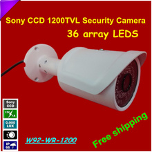 "Free Shiping 1/3 "" Sony CCD Security Camera HD 1200TVL Surveillance Waterproof IR Camera with 36 array LEDS"