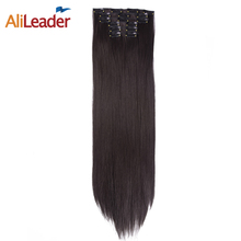 "AliLeader 6 Pcs/Lot 16 Clips In Hair Extensions For African American Hair, 22"" Long Straight Synthetic False Hair Pieces Women"