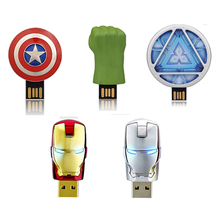 Personalized Gifts USB 2.0 Flash Drive 64GB Pendrive 32GB 16GB The Avengers Captain America U Disk Memory Stick Pens Souvenir(China)