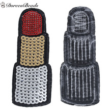 DoreenBeads 1PC Multicolor Sequined Polyester Patches Appliques DIY Scrapbooking Craft for Clothes Decoration Lipstick