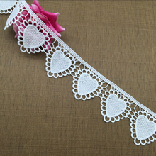 5.5cm White Milk Silk Peach Heart Lace Embroidered Heart-shaped Lace Trim Romantic Love Wedding Dress Decoration DIY Accessories