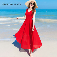 Buy 2017 Summer Dresses Women Beach Bar Red Chiffon Dress Elegant Maxi Long Party Womens Clothing Sexy V Neck Boho Dress Vestido CVB for $21.15 in AliExpress store