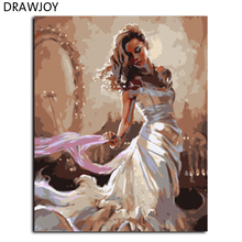 DRAWJOY New Framed Picture Painting By Numbers Hand Painted Oil On Canvas For Living Room Beauty Lady Home Decor GX8119(China)