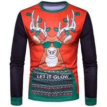 Fashion Cartoon Deer Cute Men 3D T-Shirts For Christmas Gift Fashion Cotton Male Clothes Long Sleeve Tops Tees Outfits CT362(China)