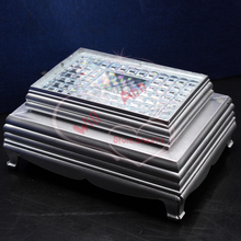 Fashion LED Light Base Show Crystal Glass Cube Base Stand Display