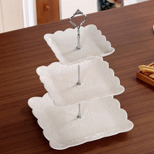 New Arrival 1 Set 3 Tier Cake Plate Stand Handle Crown Fitting Metal Wedding Party Silver/Golden Drop Shipping