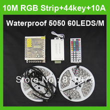 Wholesale+10M Waterproof RGB IP6 SMD 5050 LED Strip Light 60led/m  + one 44key 12A controller + 12V 10A power with plug cable