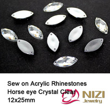 12X25mm Sewing Horse Eye Flatback Crystal Clear Rhinestones Loose Imitation Crafts Acrylic Beads DIY Jewelry Making Supplies