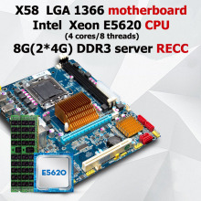 HUANAN X58 motherboard CPU set Intel X58 LGA 1366 motherboard CPU Intel Xeon E5620 RAM (2*4G)8G DDR3 server REG ECC 2 channels