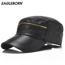 Buy EAGLEBORN 2017 New Sheepskin Genuine Leather Military Hats Zipper design Men's 100% Leather Flat Hats Men for $15.33 in AliExpress store