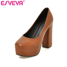 ESVEVA 2017 Platform Western Style Brown Women Weddding Shoes Thick High Heel Women Pumps Round Toe Slip on OL Shoes Size 34-39(China)