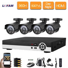 LOFAM 8 Channel cctv Security camera with DVR Recorder System 4 X800TVL metal Camera video Kit  960H 8ch dvr surveillance system