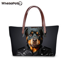 WHOSEPET Shoulder Bag New 3D Animal Wolf Tiger Printing Black for Women's Fashion Handbags Large Capacity Shipping Tote Bags Hot
