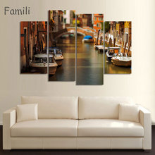 4Pcs/set  Modern Canvas Painting Wall Art Italy Venice Landscape Oil Painting Beautiful City River Decorative Picture Home Decor