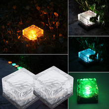 Led Solar Garden Light Outdoor Buried Lamp Lawn luminaria Solar Bulb Underground Glass Brick Light Decoration Waterproof