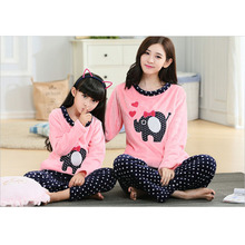Family  Hello Kitty Pajamas Family Matching Clothes Matching  Mother Doughter Flannel Cartoon Pajamas Family Look Sets