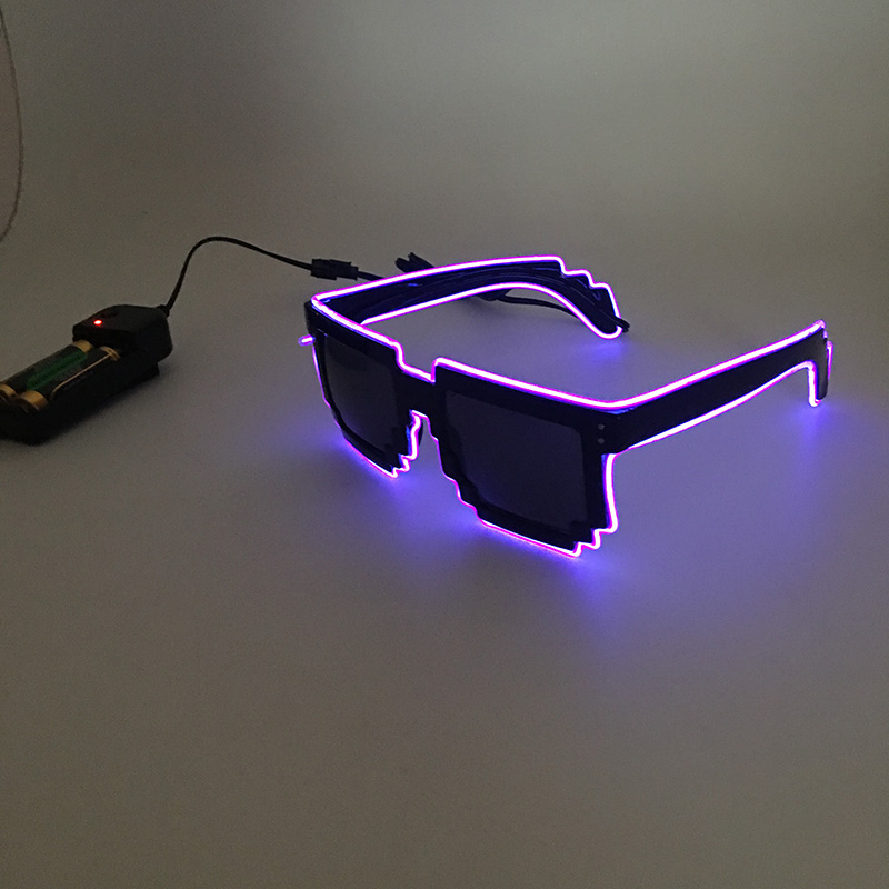 2018 DIY color glasses Pixel Light Up El Wire Led Flashing Glasses  EDM EDC Rave Party Bar Eyeswear Accessory Sunglasses