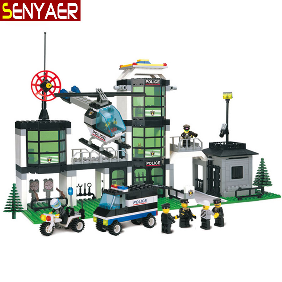 Police Headquarters 110 466Pcs Building Blocks City Police Station 3D Motorcycle Helicopter Bricks Children Toys Gift<br><br>Aliexpress