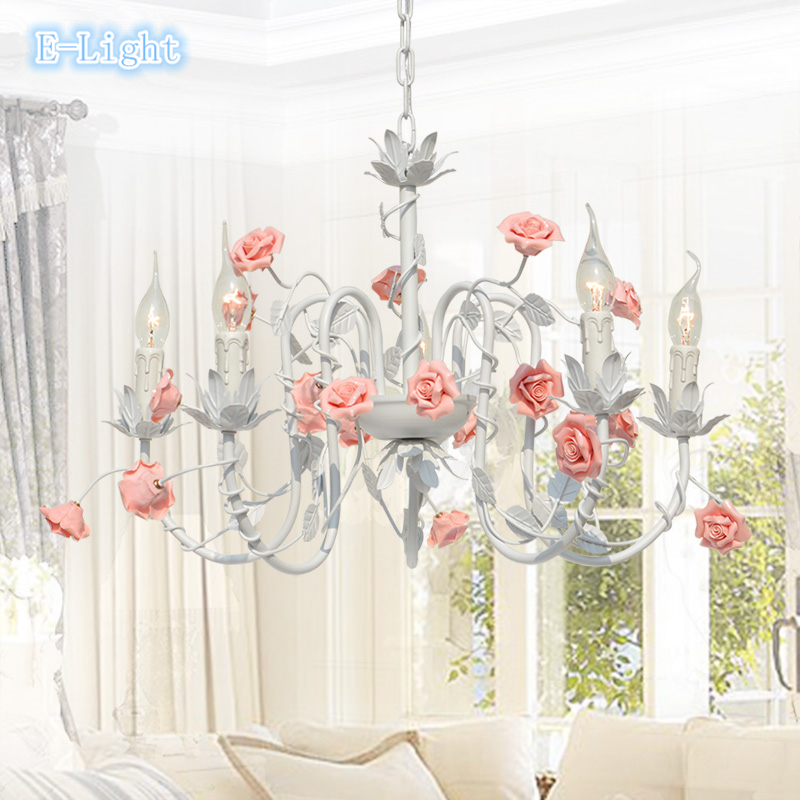 5 Lamps Korean Style Rustic Pendant Lamp,Ceramic Pink Rose Flower Leaves -E14 Candle Bulb Lighting Bedroom Iron Pendant Lights<br><br>Aliexpress
