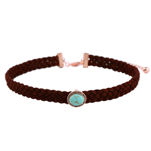Statement Leather Suede Braided Choker Necklace Perfume Women Light Blue Oval Charm Gothic Brand Jewelry Necklace