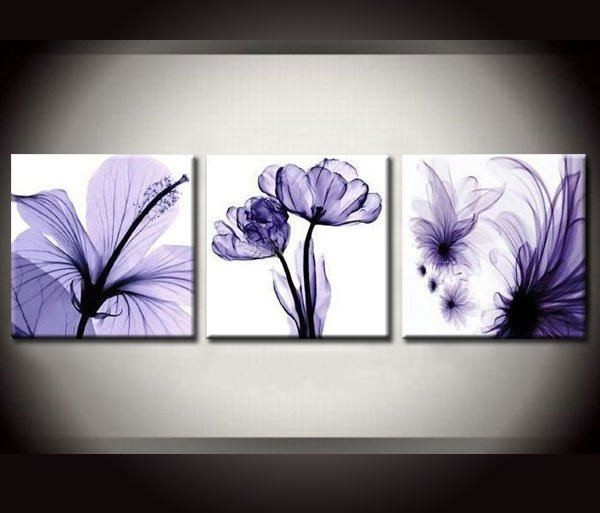 framed 3 panel large purple kitchen decor canvas art stunning flower oil painting wall picture home decoration a1291 - Purple Kitchen Decor