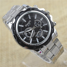 100pcs/lot Hot Sale Men Steel Band Watches Quartz Wrist Watches Hot Sell Three Eye Alloy Watches Promotion(China)