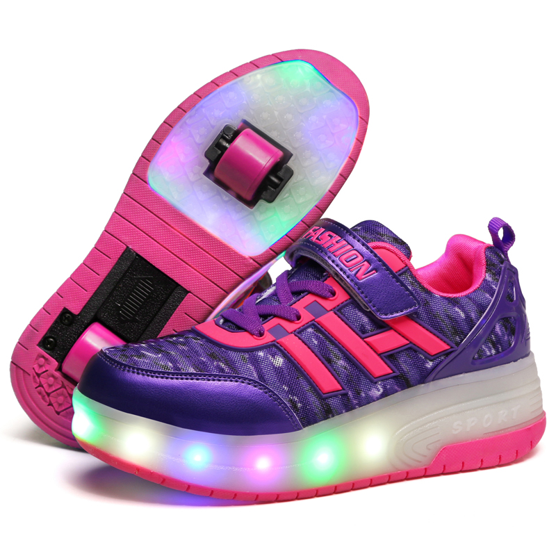 Child Girls Boys Roller Skate Shoes LED Light Black Purple Children Sneakers wheel outdoor shoes for dance/show<br>