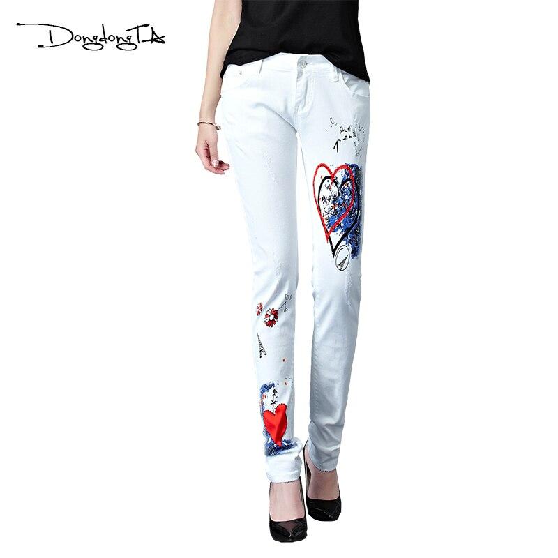 Dongdongta 2017 Summer New Jeans Women Girls Female Fashion Painted White Color Mid Waist Skinny Pencil Pants Full Length JeansÎäåæäà è àêñåññóàðû<br><br>
