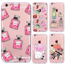 Fashion Sexy Perfume Bottle Case Cover for iphone 6 Plus fundas capa Soft Sillicon Transparent TPU cellphone bags Accessories