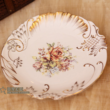 "Porcelain flat plates bone china flowers design embossed outline in gold round shape 10.5""  flat plate shallow plates big plate"