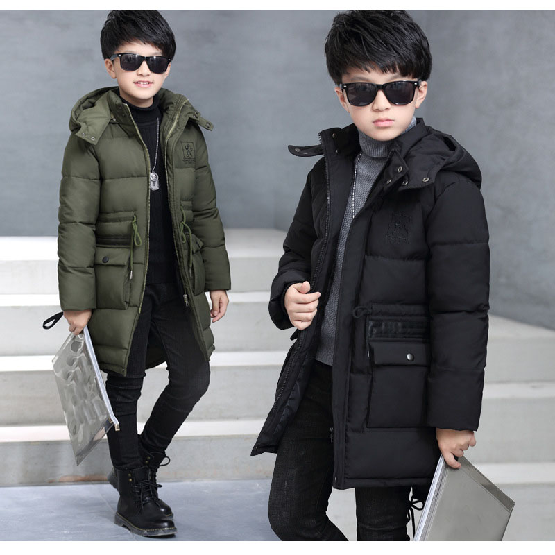 New 2017 Winter Boy Long Jackets Kids Warm Coats Parkas Baby Big Boys Solid Hooded Cotton Padded Children Costume Clothes 5 6 8Y<br>