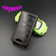 Xinyuexin Leather Car Key Cover Case For Cadillac CTS ATS 28T CTS-V coupe SRX Escalade Smart Remote Key Jacket Bag With Keychain