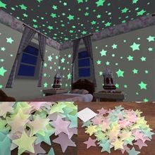 Best Quality 100Pcs/Set 3D Stars Glow In The Dark Luminous Fluorescent Plastic Wall Stickers