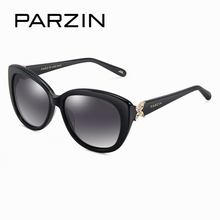 PARZIN Brand Cat Eye Women's Sunglasses Real Polarized Glasses For Driving Big Frame High Quality Sunglasses With Original Case(China)