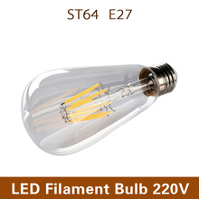 [MingBen] Loft Style LED Filament Bulb ST64 E27 220V Dimmable 4W 6W 8W Warm White Chandelier Light Bulb Lampada Bombilla Ampoule(China)