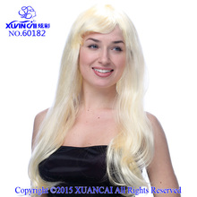 New Arrival Promotion Cosplay Wigs 100% Polyester Free Shipping Hot Sale Cheap Synthetic Blonde Long Straight Wig(China)