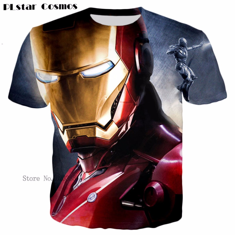 PLstar Cosmos Superhero Movie T Shirt Iron Man Robert Downey Jr. 3D Printed Short sleeve T-shirts Men Women Fashion Tee tops