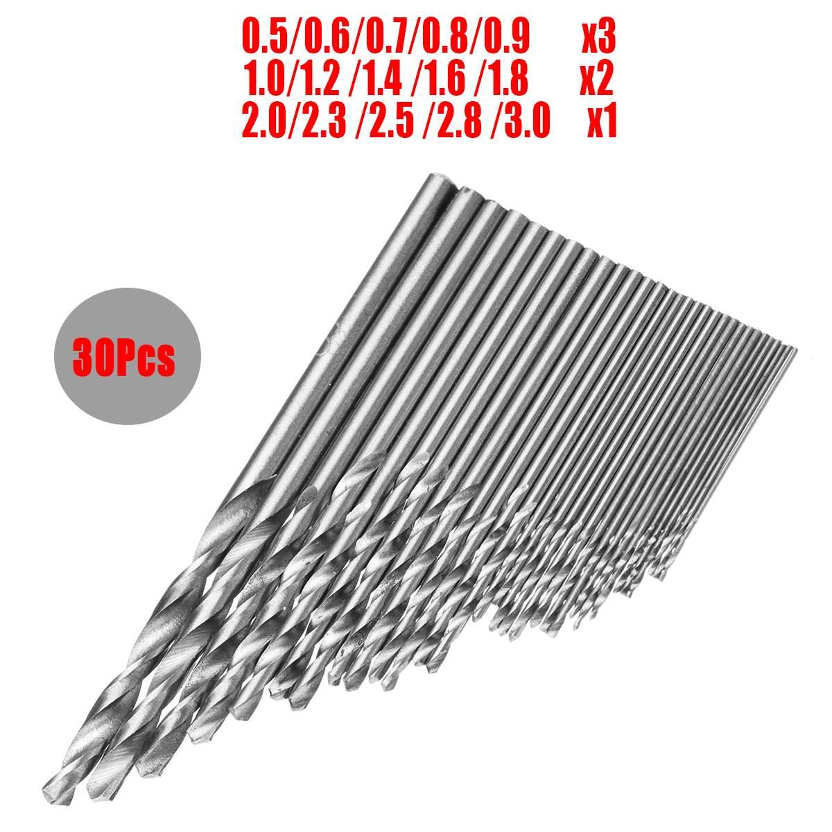 10Pcs Micro HSS 0.3-3mm Straight Shank Twist Drillings Bits Sets Tiny Durable LD