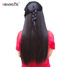 SHANGKE Long Straight 2 Clips In Hair Extensions Natural Fake Hair Pieces Hairstyles Heat Resistant Synthetic Hair Women Style