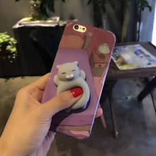NECONO 3D Cute Squishy Purple Cat Phone Case for iPhone X 7 8 Plus Funny Poke Animal Lovely Panda Rabbit For iphone 6 6S plus(China)