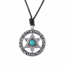 Lemegeton Adjustable Circle with Star of David Necklace Jewelry Viking Trendy Pendant  Necklaces  hebrew Jewish