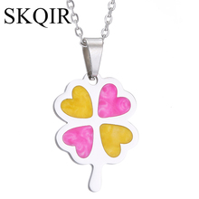 SKQIR News Courful Four Leaf Clover Pendant Necklace Silver Chain Stainless Steel Flower Jewelry For Women Christmas Gift(China)