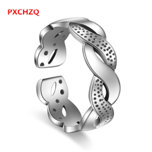 PXCHZQ 2017 New Lady Fashion Cute Opening Ring Men's Silver color Black Fine Water Wave Retro Ring luxury Jewelry 818S