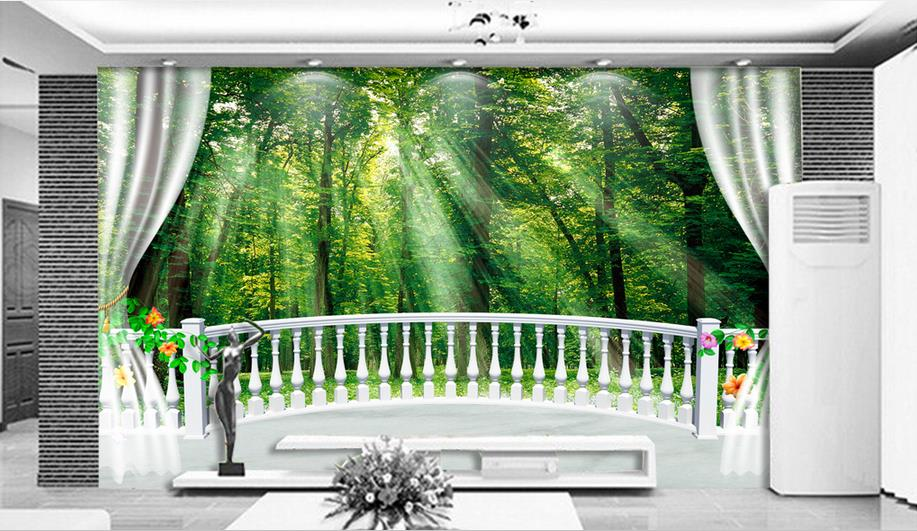 Modern Natural 3D Mural Wallpaper Out of the woods landscape Photo Prints on Embossed Wall Paper 3D Room Wallpaper Mural Rolls<br>