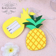 FREE SHIPPING 12PCS Pineapple Tropical Fruit Summer Luggage Suitcase Tag Label Travel Holiday Gift Birthday Favors Idea(China)