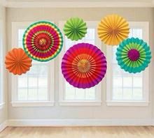 6pcs/set Colorful wheel Tissue Paper fans Flowers balls lanterns Party Decor Craft For Bar Birthday Party Wedding Decoration Wh(China)