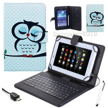 "Universal PU Leather Stand Case Cover with USB Keyboard +Stylus Pen for 7"" Toshiba Excite Go PDA0MU-001005 AT7-C8 Tablet PC"