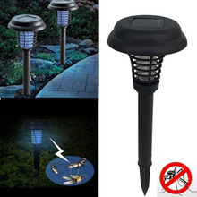 2 in 1 UV LED Solar Powered Outdoor Mosquito Insect Pest Bug Zapper Killer Garden Accessories(China)